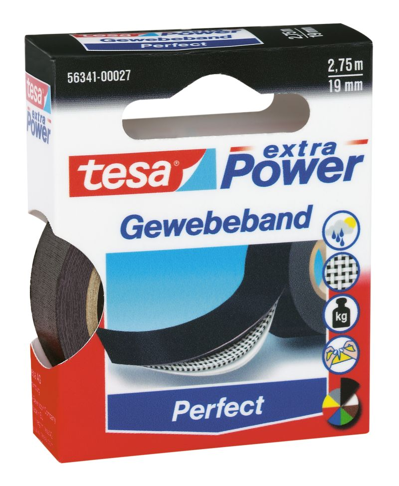 wassersport tesa gewebeband extra power 2 75 m 19 mm schwarz online kaufen. Black Bedroom Furniture Sets. Home Design Ideas